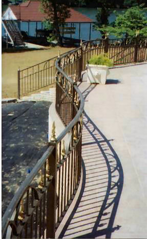 aluminum railing on radius