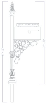 AutoCad drawing of cast iron mailbox post with dimensions