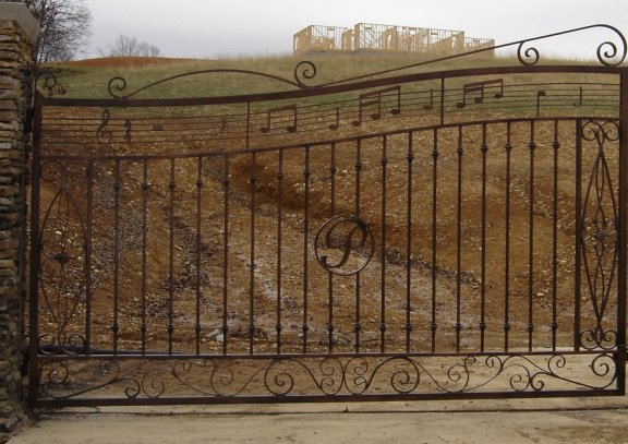 custom wrought iron gate with music notes