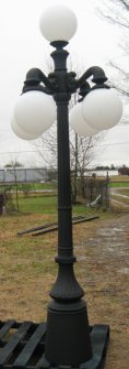 cast aluminum 5 light victorian lamp post with arms down