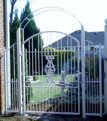 wrought iron trellis and gate
